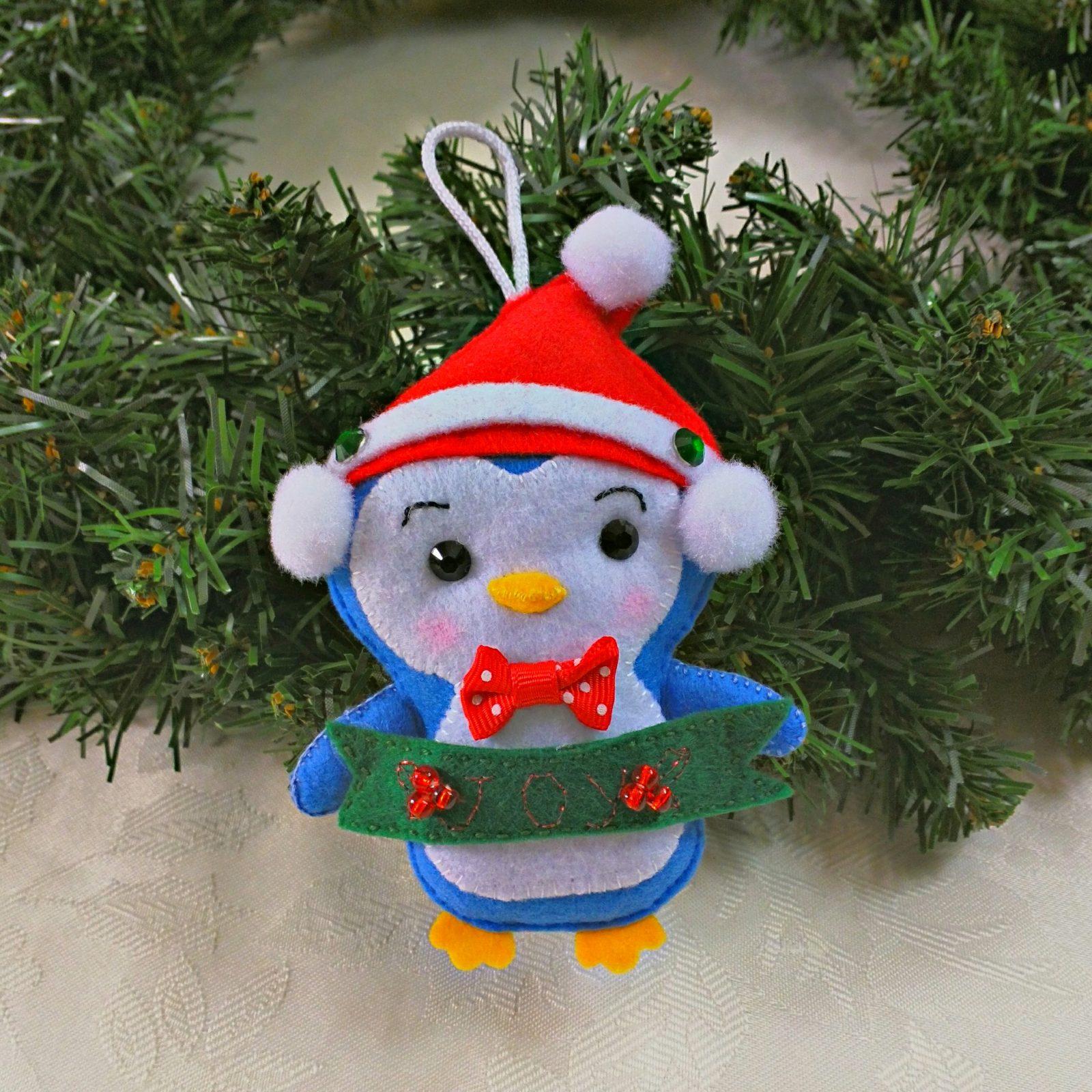 Blue White Penguin Christmas Tree