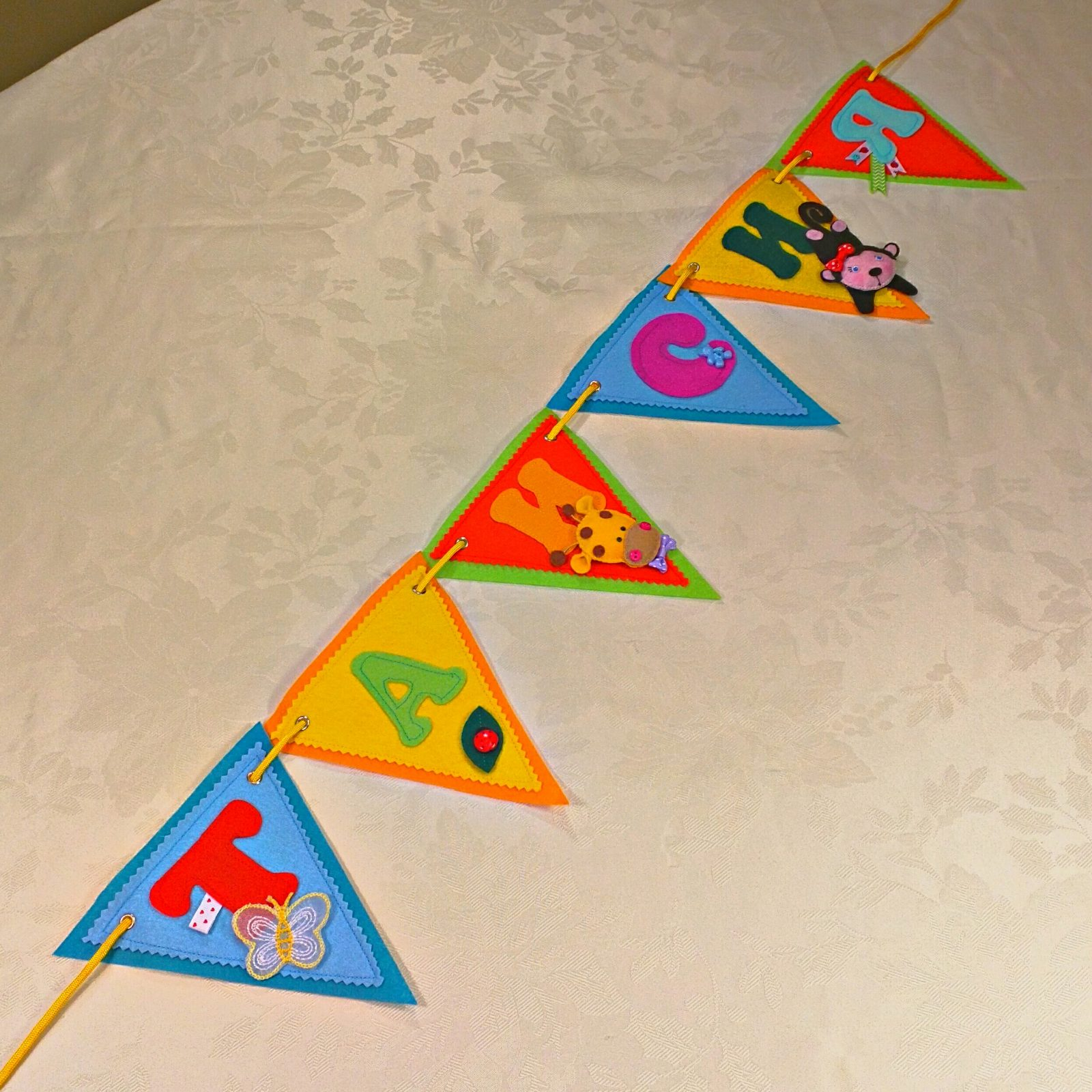 summer theme personalized name garland banner vika creations